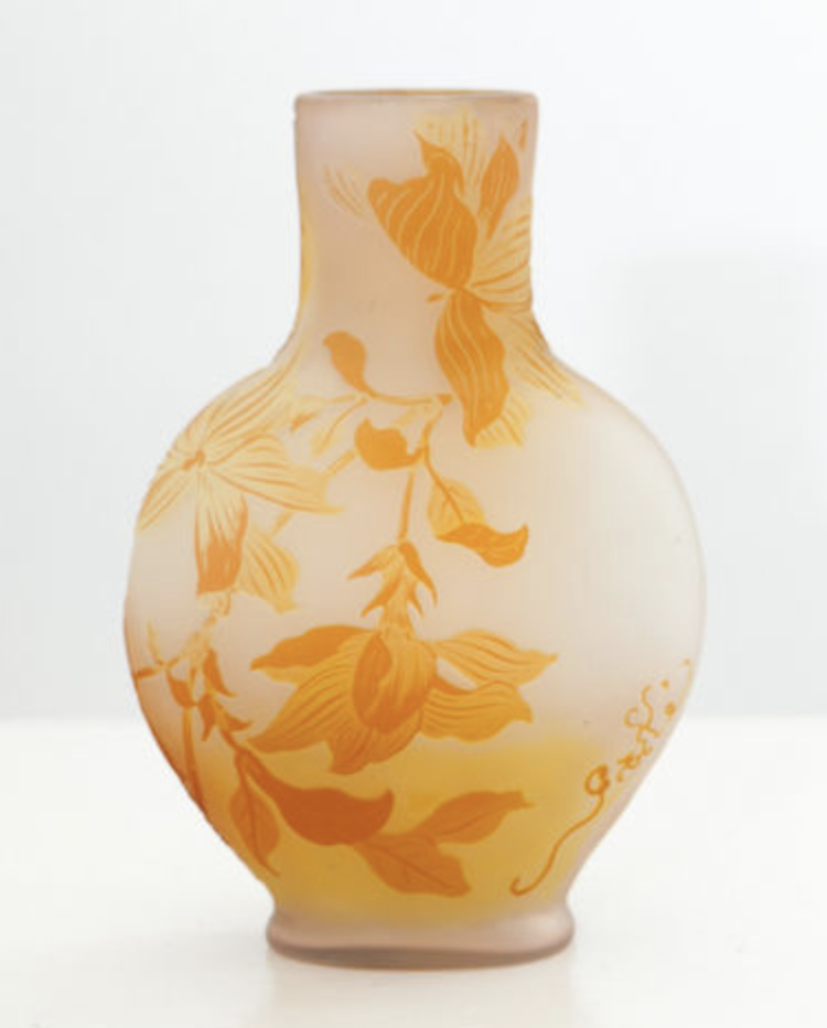 Flattened gourde shape Galle vase
