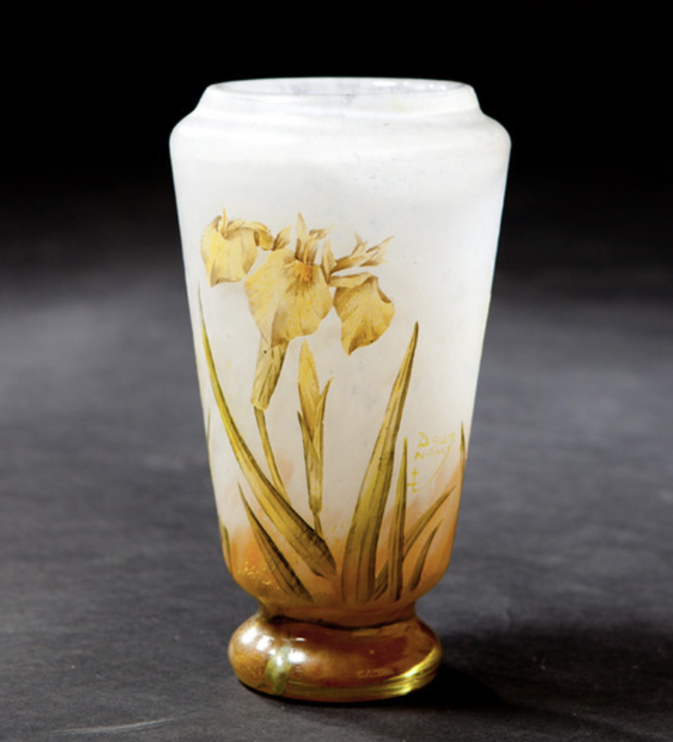 Daum yellow iris vase