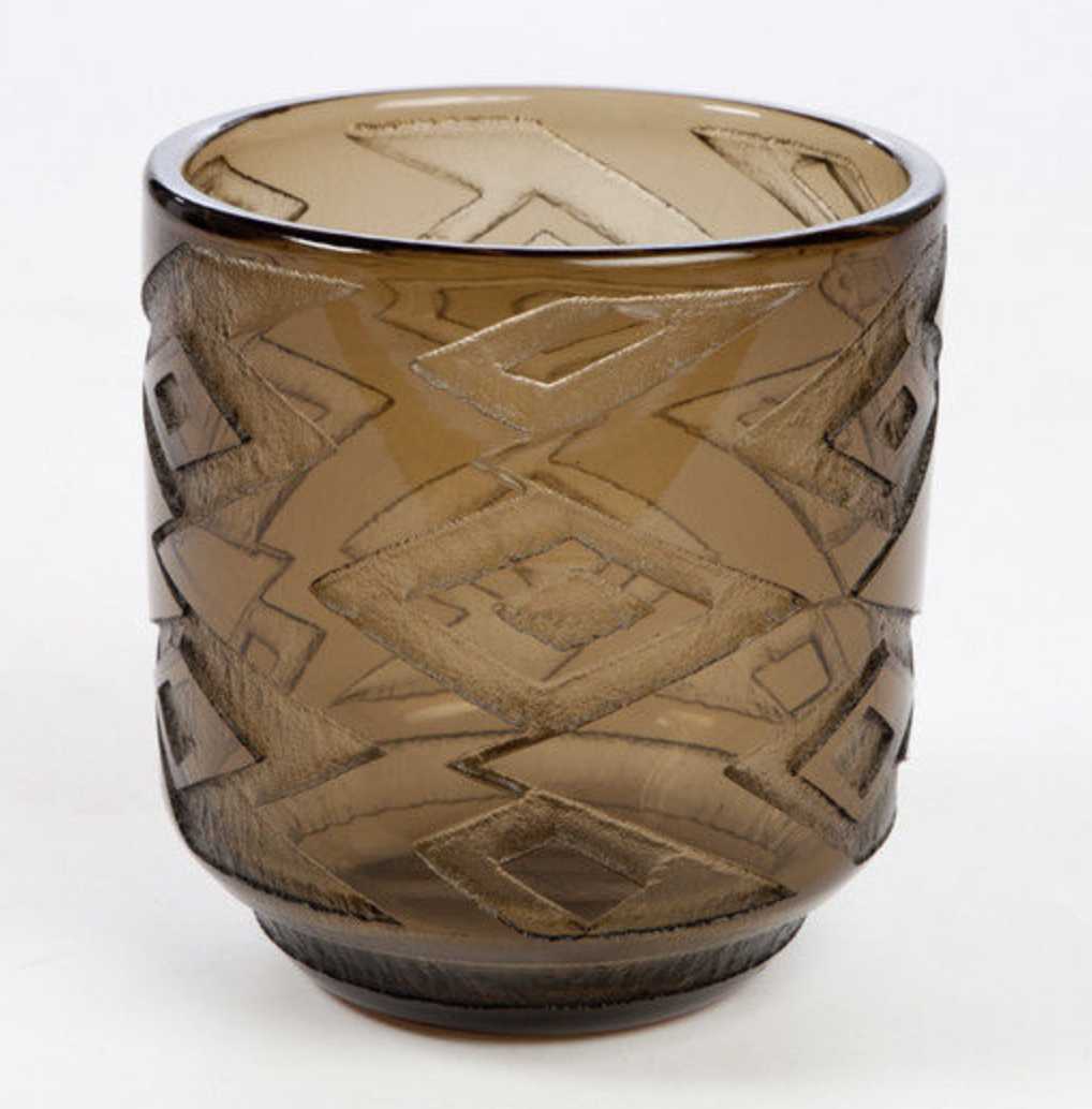 Daum art deco vase with tribal art design