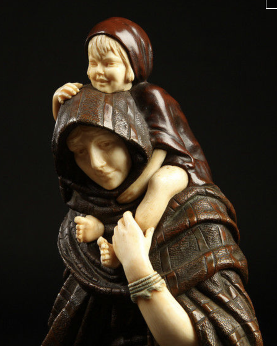 Chiparus mother and child statue in bronze and ivory