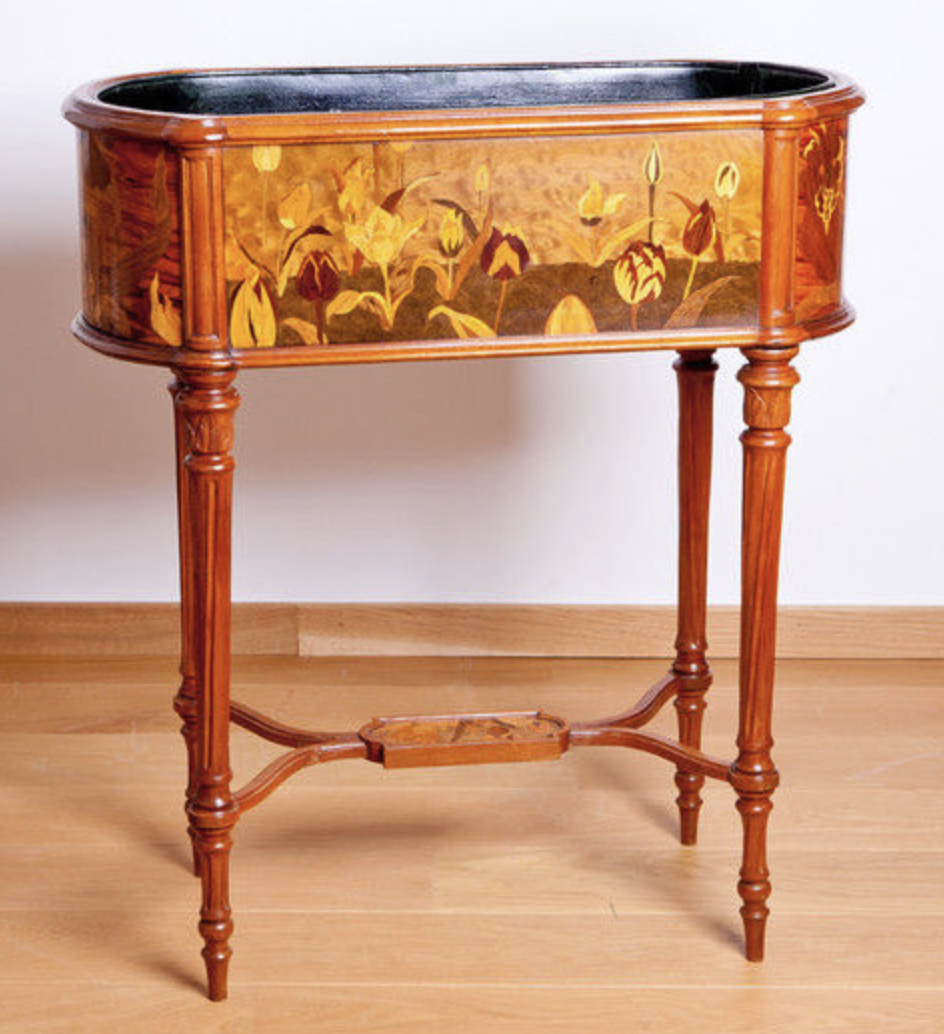 Jardiniere with marqueterie by Emile Galle