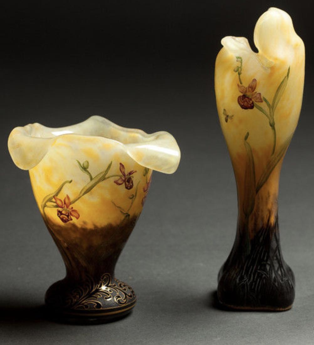Two Daum Nancy orchid vases