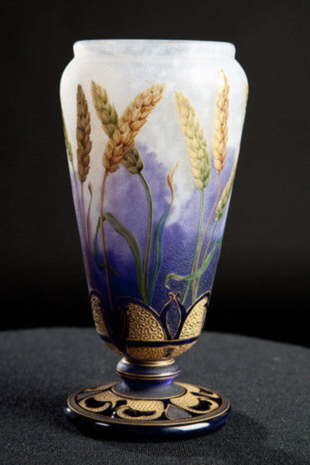 Daum Nancy vase with wheat