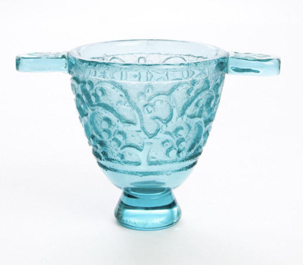 Daum Nancy bleu art deco vase with handles