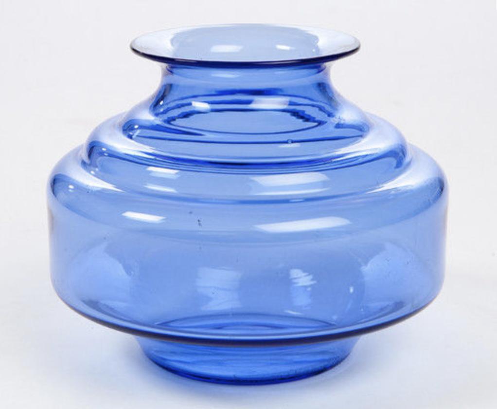 Daum blue lunaire art deco vase