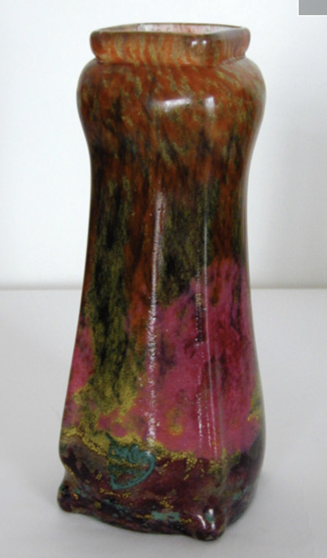 Daum vase with impressionism vitrification forest